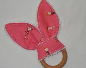 Pink Ballerinas Rabbit Ears Wooden Teething Ring
