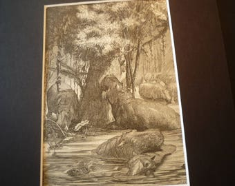 1870 Etching Hippopotamus original Animal Kingdom  for 8 by 10 frame - gift for animal lover nature lover detailed