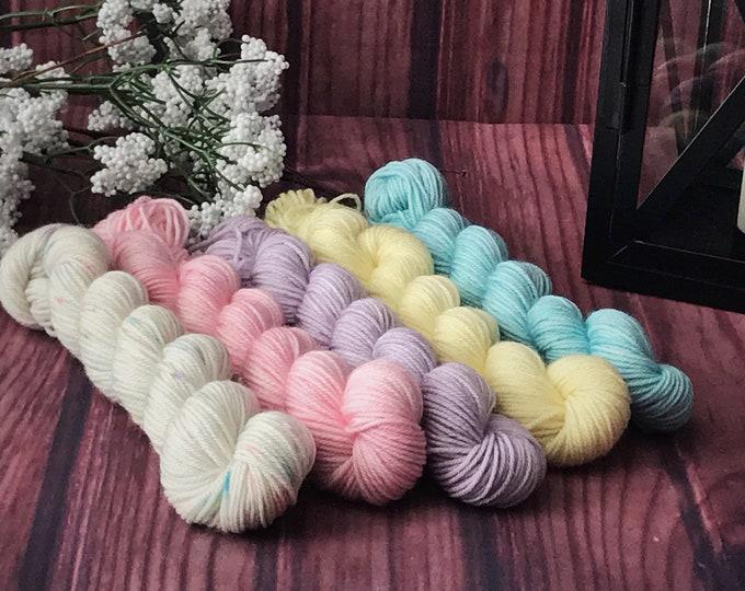 Hand Dyed Yarn, Sock Yarn, Indie Dyed Yarn, Mini Skein Set, Merino Wool Yarn - Spring Mini Skein Set on Simple Sock