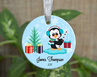 Personalized Christmas Ornament, Baby First Christmas ornament, Custom Ornament, Newborn baby gift, penguin ornament, Christmas gift. o055