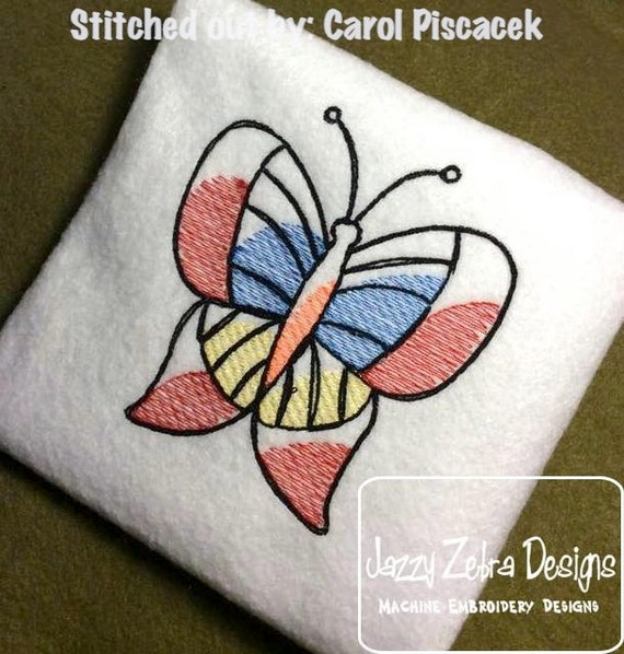 Butterfly Sketch Embroidery Design - bug Sketch Embroidery Design - summer Sketch Embroidery Design - butterfly embroidery design