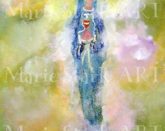Catholic Art PRINT, Mixed Media Art, Abstract Art Prints, Whimsical Art Paintings, Affordable Art Print, Inspirational Art, Our Lady of Hope