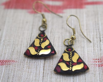 Triangle Earrings, Mosaic Earrings with Red and Gold, Dangling, Hook Earrings, Gold, Brass, Tribal, Free Spirit, Boho