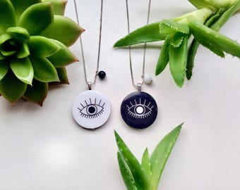 open your eyes pendant silver necklace
