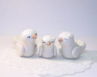 Lovebirds with Baby Bird Wedding Cake Topper - Trio Nuzzling Family - Shown with Baby Girl Bird - Fully Customizable - Choice of Colors