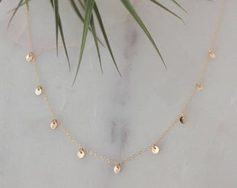 Dainty Gold Disc Necklace - 14k Gold Filled, 4mm Disc