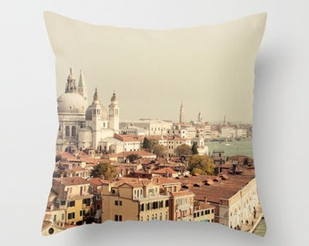 photography throw pillow, venice italy  pillow cover, blue home decor, europe, travel, architecture, landscape, City of Venice
