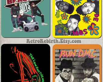 Old School Hip Hop Drink Coaster Set - Music Gift - Great For Housewarming, Bar & Coffee Table Display - Set Of 4
