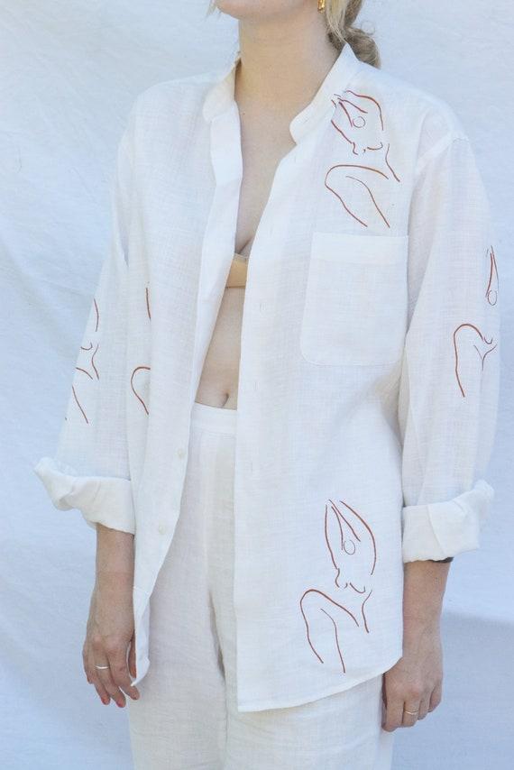 Meridian Woman White Linen Blouse.