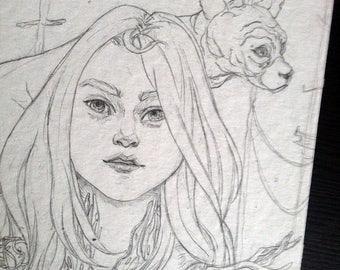 Girl with cat Original Illustration