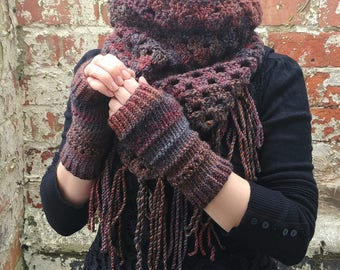Brown fingerless gloves . Knit fingerless gloves , wrist warmers -arm warmers . Texting gloves  Festival accessories