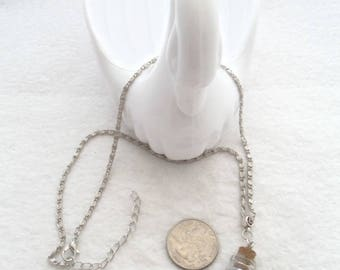 Antique Silver Necklace with Bottle of Blue Jewels (2111)