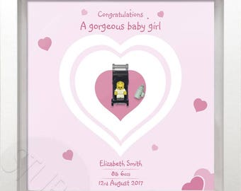 Lego personalised new baby picture frame