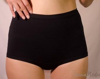 High waist organic cotton panties (black or off-white), eco underwear, organic panties, organic underwear