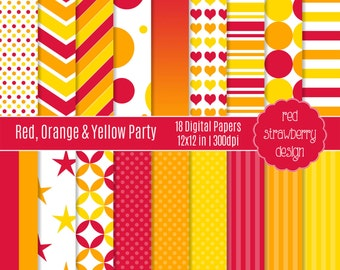 75% OFF Sale - Red, Orange & Yellow Party - 18 Digital Papers - Instant Download - JPG 12x12 (DP152)