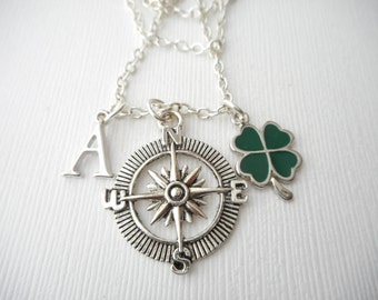 Compass, Four Leaf Clover- Initial Necklace/ Gift for best friend, Birthday Gift, Friend, Bff gift, bff jewelry, Friends Forever, gift for