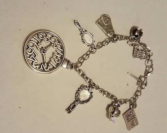 Alice in Wonderland silver charm bracelet