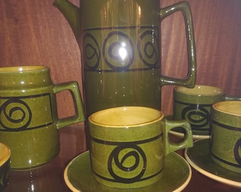 Vintage Brixham pottery coffee set in olive green