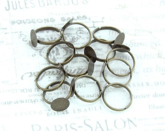 Antiqued Brass Adjustable Ring 12mm Pad Ring Cabochon Ring Setting Glue Pad Ring Ring Blank