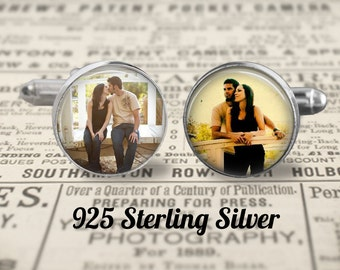 Solid Sterling Silver 925 Cufflinks, Custom Photo Cufflinks, Mens Accessories, Wedding Cufflinks
