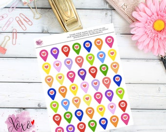 Geotag/Map Stickers for the Erin Condren Vertical, Horizontal or Happy Planner