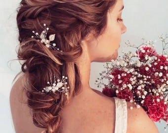 Bridal Hair Pins, Wedding Hair Pins, Bridal Hair Pieces, Pearl Hair Pins, Hair Pins Wedding, Leaf Hair pins, Bridal Headpiece Pins, Set of 3