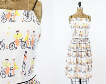 1950's Novelty Print Dress Small / Vintage Bicycle Cotton / Threes Company Dress