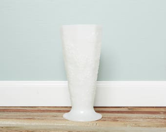 SALE Vintage Milk Glass Vase - Westmoreland Tall Vase with Grape Pattern- Milk Glass Grapes Collection -