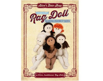 """Rag Doll Body Pattern and Instructions DOWNLOAD (with FREE Youtube tutorials) - A4 and US Letter sizes included - to make 54cm/21"""" Rag Doll."""