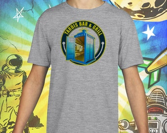 Doctor Who / Tardis Bar & Grill / Gray Child Size Performance T-Shirt