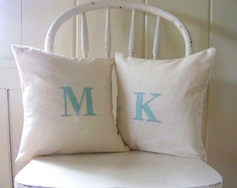 free shipping / set of 2 initial pillow covers / aqua / monogram / letter pillow / throw pillow / home  / engagement / wedding / anniversary