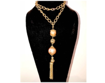 Vintage Faux Mane Pearl Tassel Necklace Hollywood Glamour