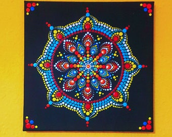 BarbaraMandalaLove#6 Muliticolor canvas#mandala#hand painted#20x20cm#ready to hang on your wall#