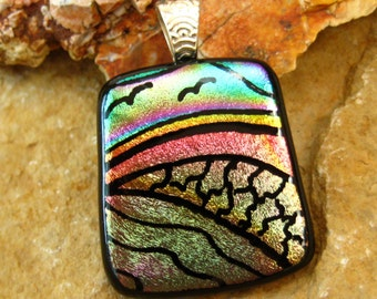 Dichroic Fused Glass Hand Etched  Pendant, Fused Glass - Rainbow Fields