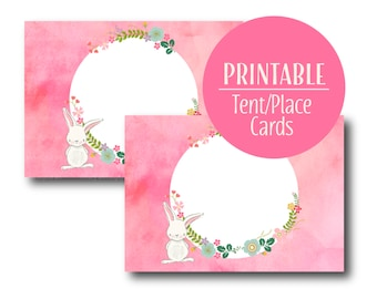Bunny Tent Cards |  Bunny Birthday Decor Pink | Rabbit | Printable | Pink Buffet Cards  1516 pink