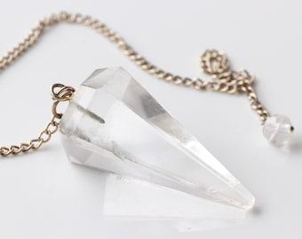 Clear Quartz pendulum, gemstone pendulum, divining pendulum, mystic intuition tool, Quartz divination pendulum, cut stone dowsing pendulum