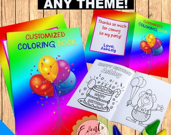 Custom Coloring Book Personalized Favors Party