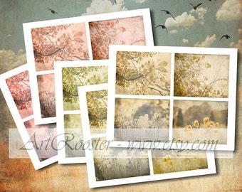 20 Little Floral Backgrounds Cards Scrapbook Digital Background 3.5x5 Junk Journal Cards Craft Paper Printable Images Digital Collage Sheet
