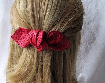 Red barrette, Red leather bow hairslide, Preppy red knot bow, Red bow on a French Barrette, real leather large bow, Red bow hair clip Ruby62