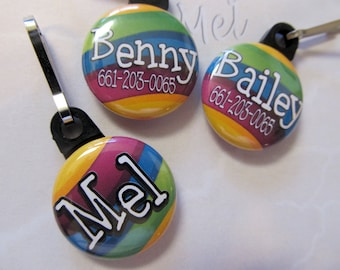"""Personalized zipper pull purse charm dog tag 1"""" button with your name"""