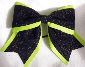 Lime Green and Black Glitter Hairbow
