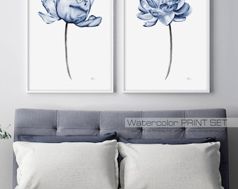 Watercolor painting Large Wall art prints Blue Peony Wall decor bedroom Living room Watercolor flowers Watercolor Print wall art Set of 2 FA