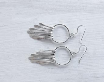 Sterling Silver Fringe Earrings, Dangle Bohemian Earrings, Modern Hippie Lightweight Earrings, Boho Chic Earrings for Women, Boho Jewelry