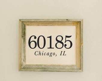 Personalized Barn Wood Framed Print - Zip Code