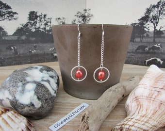 "Silver earrings, fine silver chain and ""Archipelago"" red Pearl bead"