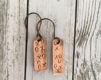 Hand Stamped XOXO Copper Earrings, Handmade, Hugs and Kisses, Love Jewelry