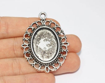33mm Antique Silver Pendant Tray, Bezel Settings, Cabochon Tray,SKU/TR9
