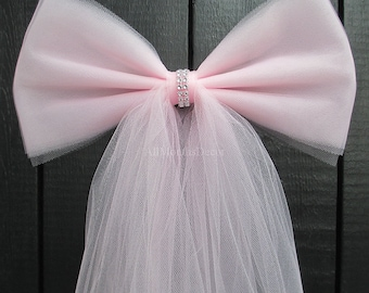 Light Pink Tulle Pew Bow | Optional Silver or Gold Bling | Wedding Ceremony Party Decorations | Church Aisle Chair | Bridal Baby Girl Shower