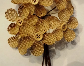 Burlap flowers with beige button centers and bendable stems, set of 8, for gift embellishments, floral or rustic wedding crafts