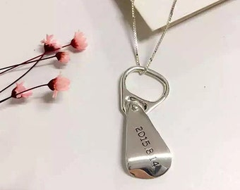 Sterling Silver Can Pull Ring Necklace, Anything Engraved ,Christmas Gift,engraved necklace